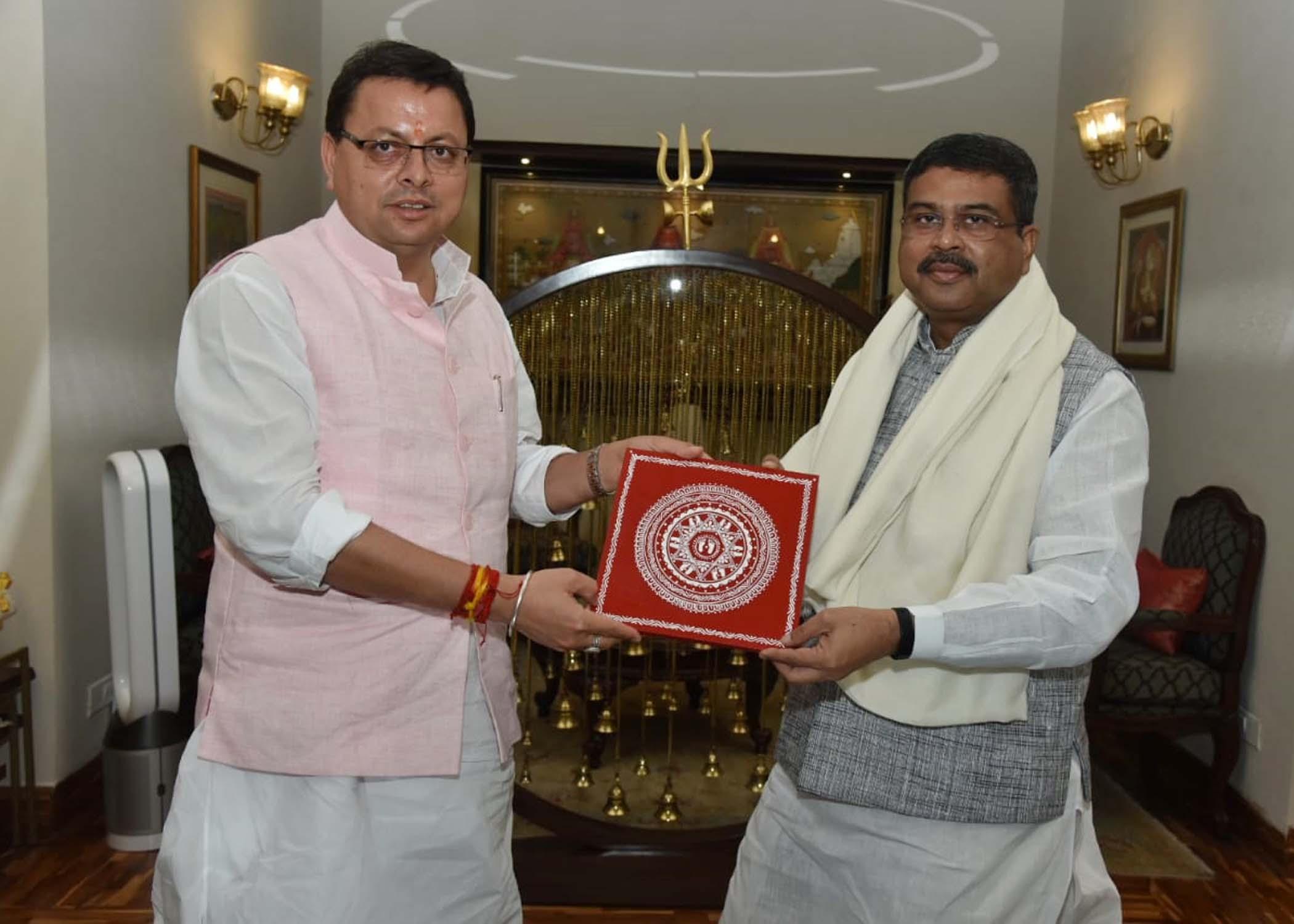 सीएम पुष्कर धामी ने केन्द्रीय शिक्षा मंत्री से की शिष्टाचार भेंट,नरेंद्र नगर और कोटद्वार में केंद्री